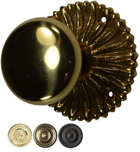 Hollywood Regency Round Brass Door Knob Set