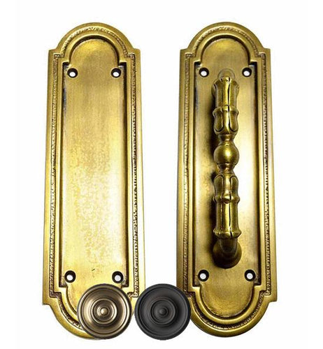 8 3/8 Inch Solid Brass Arched Style Push And Pull Plate