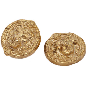 Solid Brass Deadbolt Hole Cover - Lion Heads