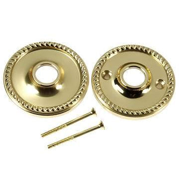 Solid Brass Rosette Plates - Georgian Roped