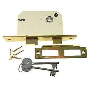 Polished Brass Locking Mortise Latch (1 3/4 Backset)