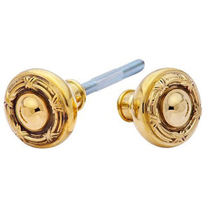 Solid Brass Ribbon & Reed Spare Door Knob Set (Polished Brass Finish)