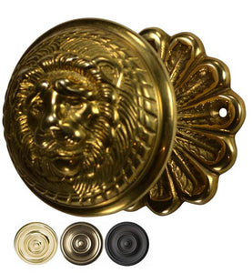 Flower Rosette Brass Lion Head Door Knob Set