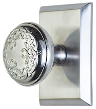 Solid Brass Floral Leaf Door Knob With Rectangular Rosette
