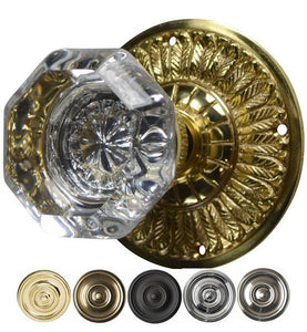 Providence Octagon Crystal Door Knob with Feathers Rosette