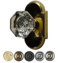 Solid Brass Providence Crystal Door Knob Set With Arched Rosette