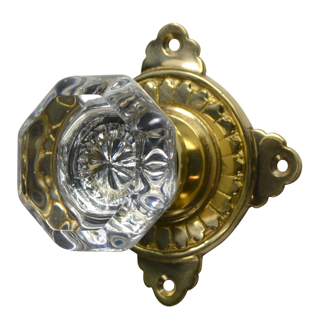 Providence Octagon Crystal Door Knob with Art Deco Rosette