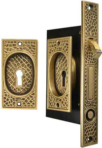 Craftsman Pattern Single Pocket Privacy (Lock) Style Door Set