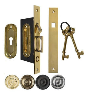 Georgian Oval Pattern Pocket Privacy (Lock) Style Door Set