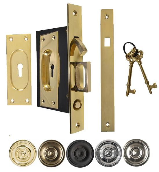 New Traditional Square Pattern Pocket Privacy (Lock) Style Door Set)