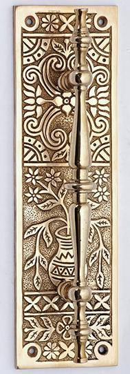 10 inch Broken Leaf Pattern Solid Brass Door Pull and Plate