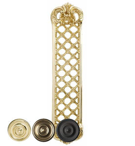 12 Inch Solid Brass Finger Push Plate: Trellis Lattice Work