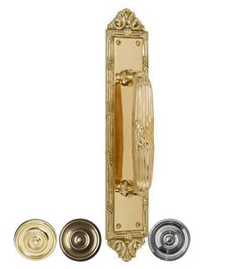13 3/4 Inch Solid Brass Ribbon & Reed Door Pull Plate