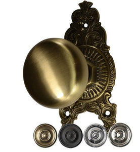 Solid Round Brass Ornate Victorian Door Knob Set