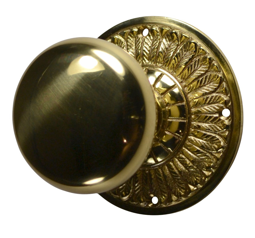 Round Brass Door Knob with Feather Style Rosette