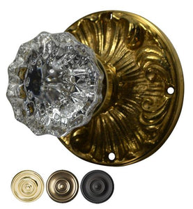 Regency Fluted Crystal Glass Door Knob with Romanesque Rosette
