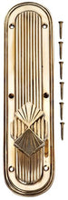 Solid Brass Art Deco Style Door Knob Set With Back Plate