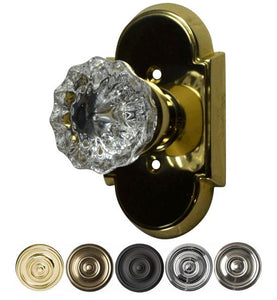 Regency Fluted Solid Brass Door Knob Set With Arched Rosette