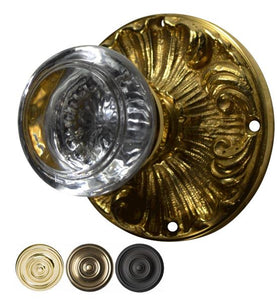 Savannah Round Crystal Door Knob Set with Romanesque Rosette