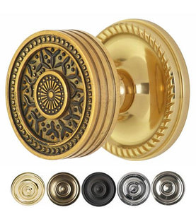 2 1/4 Inch Sunburst Rice Pattern Door Knob With Rope Rosette