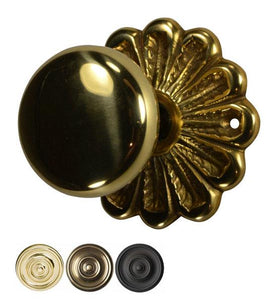 Flower Rosette Round Brass Door Knob Set