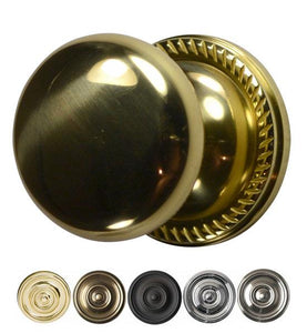 Solid Brass Round Door Knob with Georgian Roped Rosette