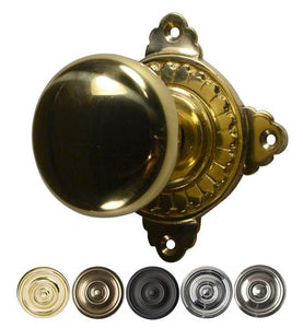 Round Brass Door Knob with Art Deco Style Rosette