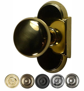 Solid Round Brass Door Knob Set With Arched Rosette