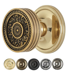 2 1/4 Inch Sunburst Rice Pattern Door Knob With Victorian Rosette