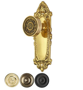 Sunburst Rice Pattern Door Knob With Largo Design Rosette