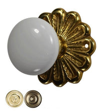Flower Rosette White Porcelain Door Knob Set