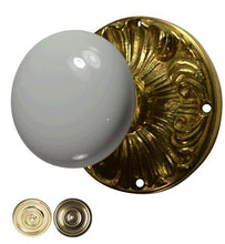 White Porcelain Door Knob Set with Romanesque Rosette