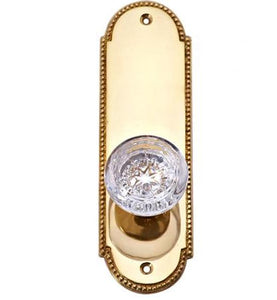 Vassar Crystal Glass Door Knob Set with Beaded Oval Back Plate