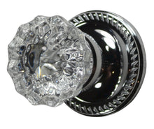 Regency Fluted Crystal Door Knob with Georgian Roped Rosette
