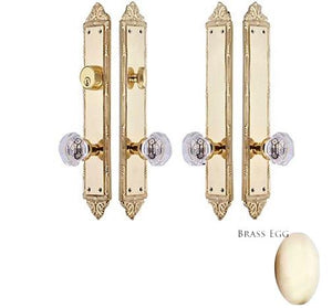 Victorian Oval Double Door Crystal Octagon Knob Deadbolt Entryway Set