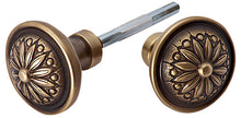 Solid Brass Round Sunflower Imprint Spare Door Knob Set