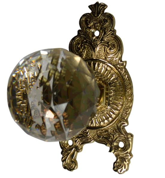 Cut Crystal Ornate Victorian Door Knob Set