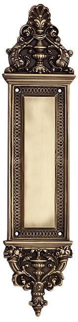 Solid Brass Ornate Victorian Push Plate (Antique Brass Finish)