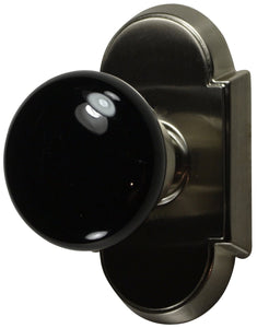 Solid Brass Black Porcelain Door Knob Set With Arched Rosette