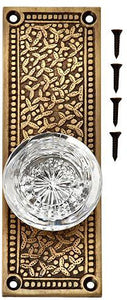 Vassar Crystal Glass Door Knob Set with Rice Pattern Backplate