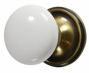 White Porcelain Door Knob with Victorian Rosette