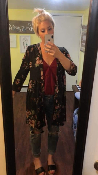 Charcoal floral ribbed cardigan
