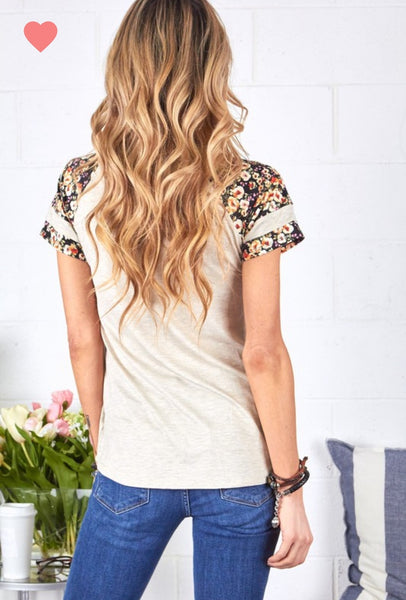 Solid Knit Floral Mix Top