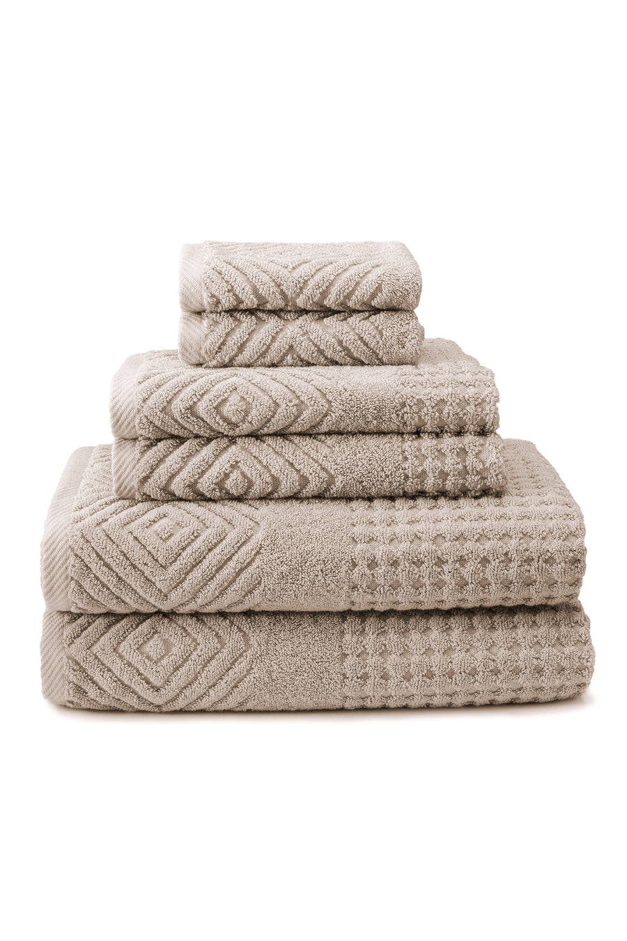 Tansy - Organic Cotton Jacquard Bath Towels - 6 Piece Set - TexereSilk
