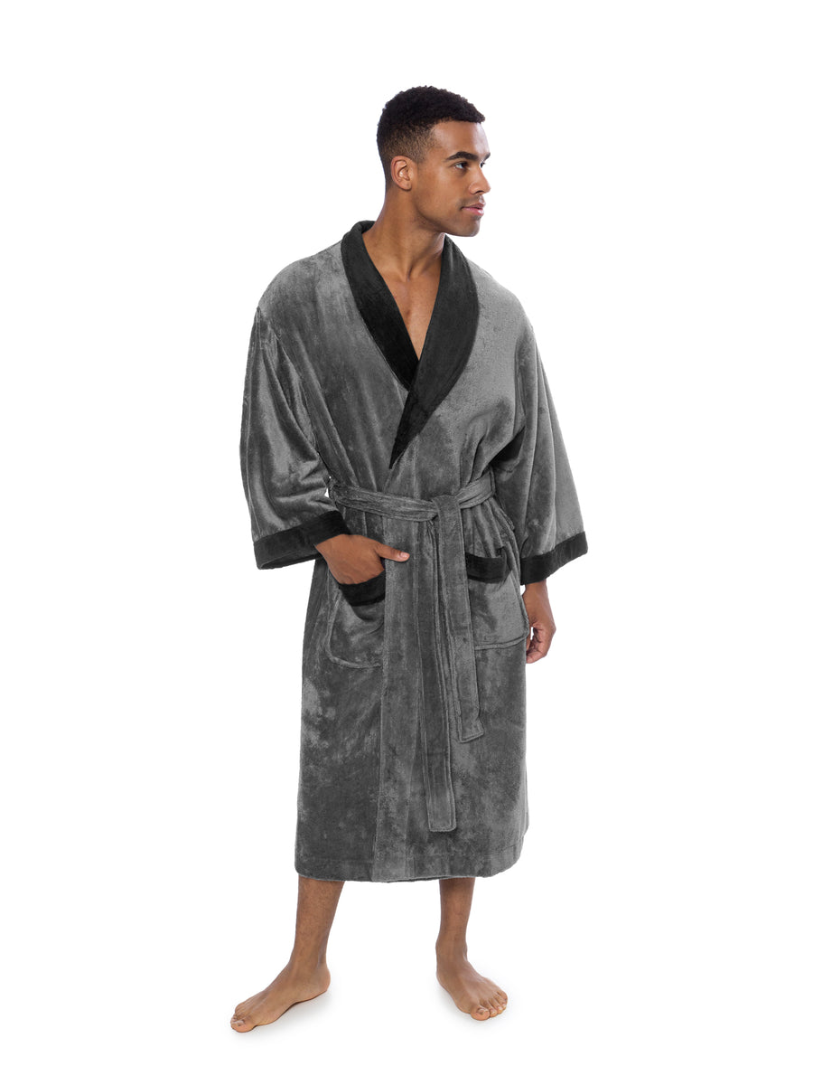 Turilano - Men's Bamboo Viscose Velvet Terry Bath Robe