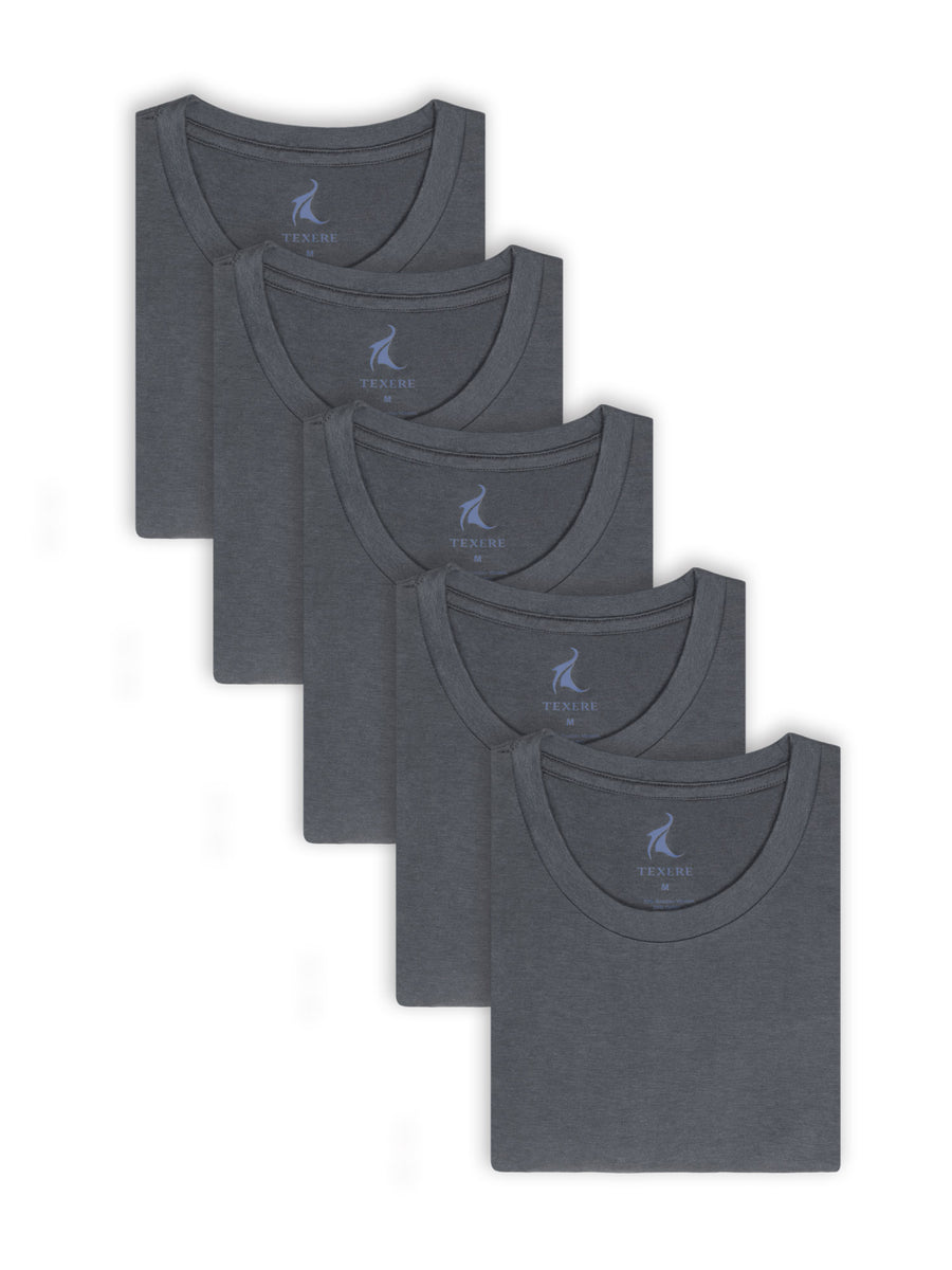 Dexx - Men's Bamboo Viscose Crew Neck Undershirt - 5 Pack - TexereSilk
