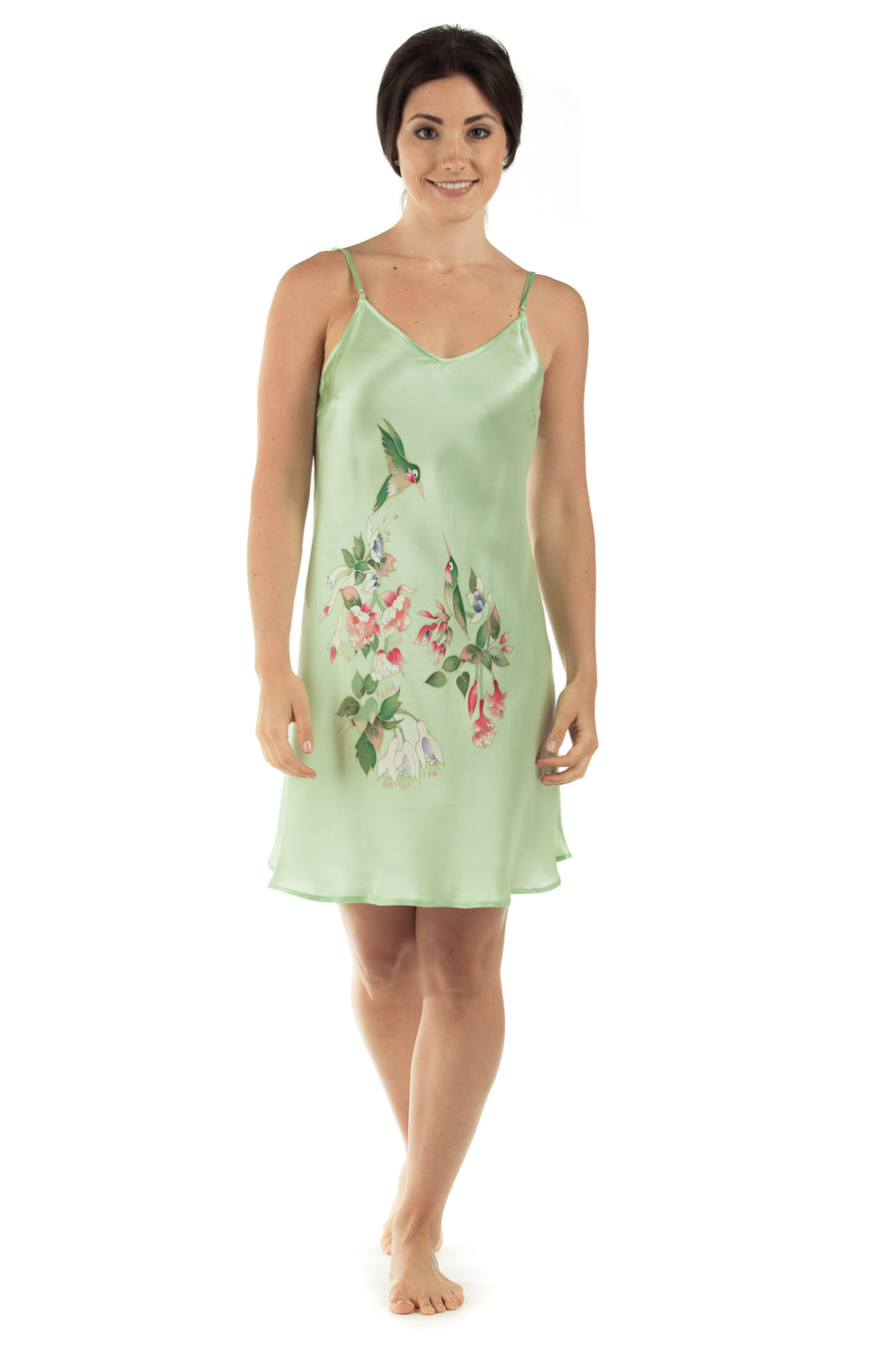 Hummingbirds Gown - Hand Painted Silk Chemise - TexereSilk