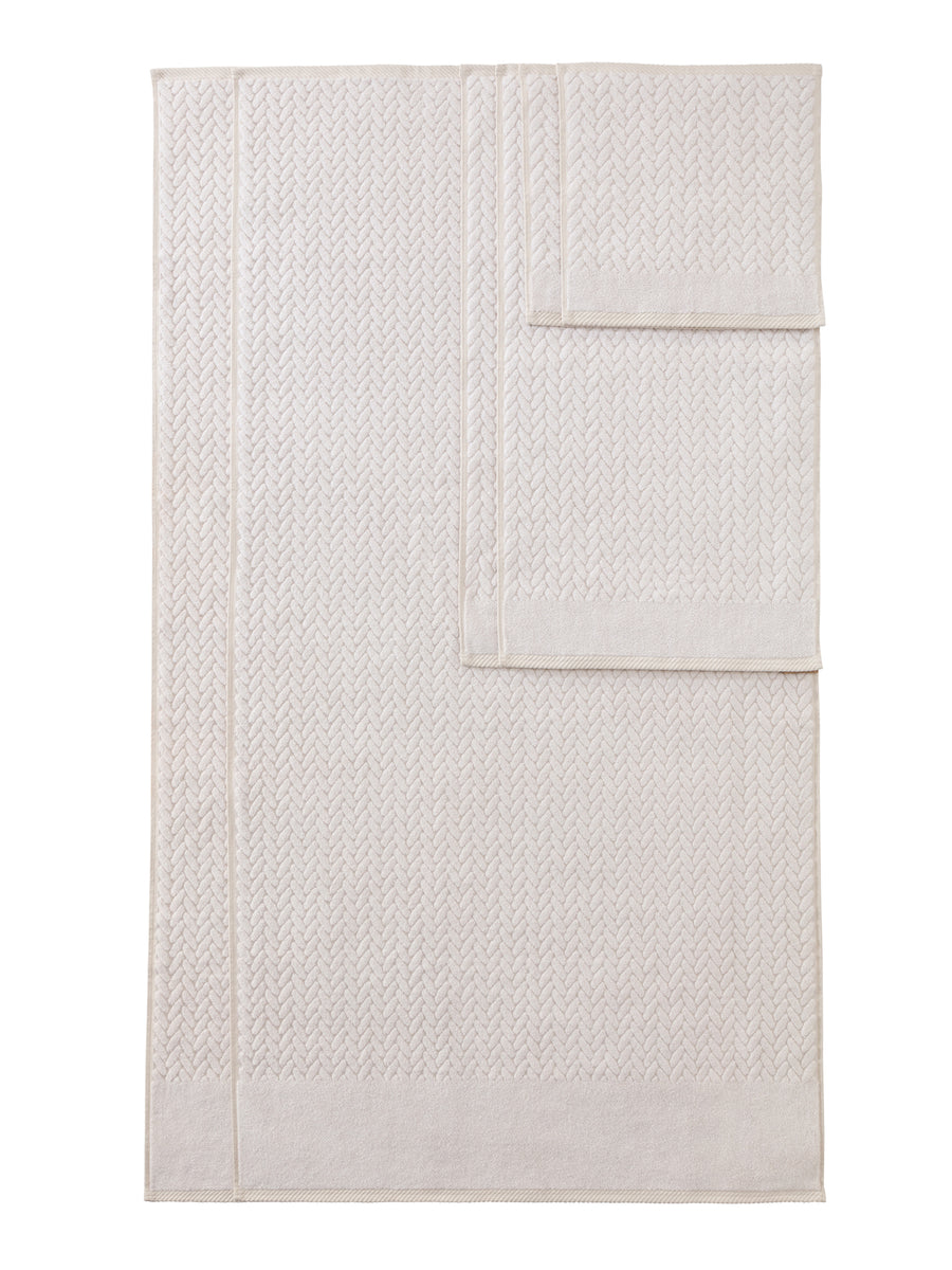 Chestnut - Organic Cotton Cable Knit Jacquard Bath Towels - 6 Piece Set - TexereSilk