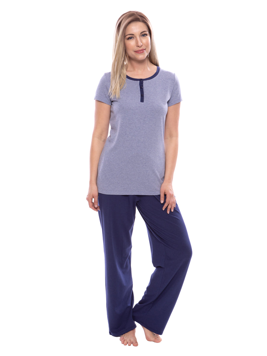 Calmbreeze - Women's Short Sleeve Henley PJ - testing23451234 - Pajamas