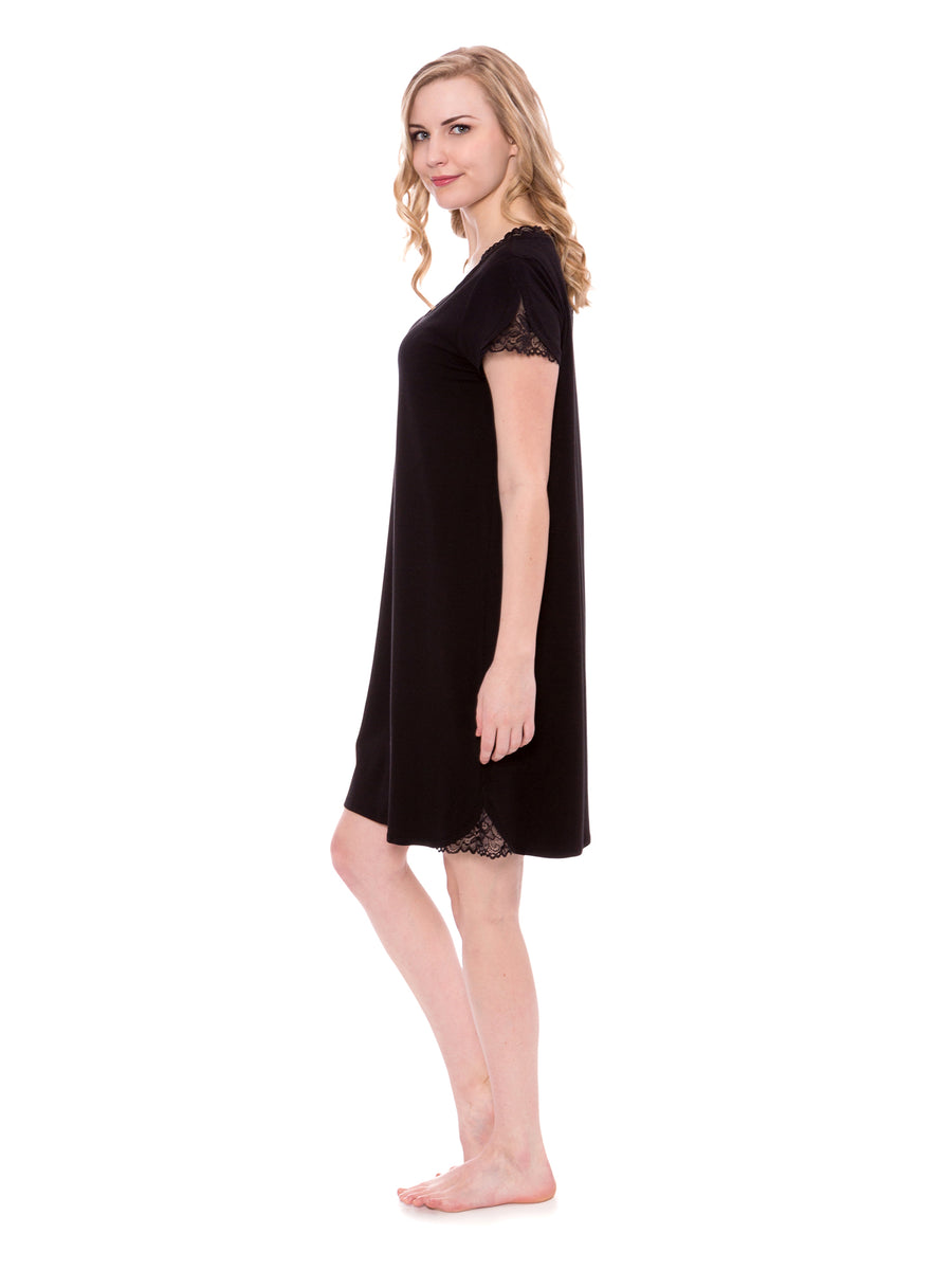 Sonarina - Women's Jersey Nightgown with Lace - TexereSilk